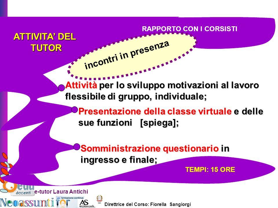Direttrice del Corso: Fiorella Sangiorgi e-tutor Laura Antichi ATTIVITA DEL TUTOR TUTOR Attività per lo sviluppo motivazioni al lavoro flessibile di g