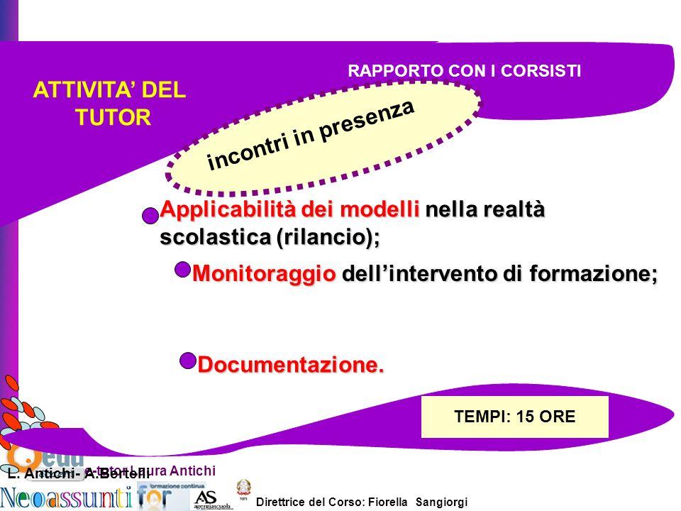 Direttrice del Corso: Fiorella Sangiorgi e-tutor Laura Antichi ATTIVITA DEL TUTOR Applicabilità dei modelli nella realtà scolastica (rilancio); Monitoraggio dellintervento di formazione; Documentazione.