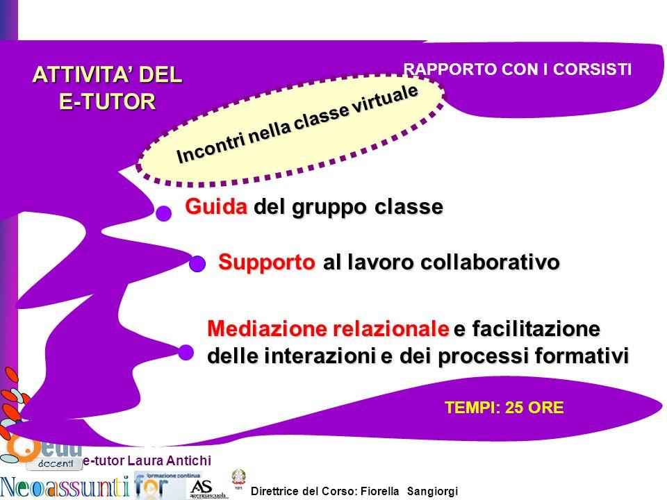 Direttrice del Corso: Fiorella Sangiorgi e-tutor Laura Antichi ATTIVITA DEL E-TUTOR incontri in presenza Incontri nella classe virtuale TEMPI: 25 ORE