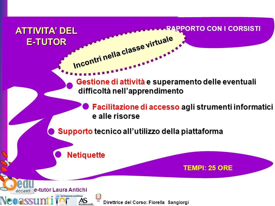 Direttrice del Corso: Fiorella Sangiorgi e-tutor Laura Antichi ATTIVITA DEL E-TUTOR Incontri nella classe virtuale Gestione di attività e superamento