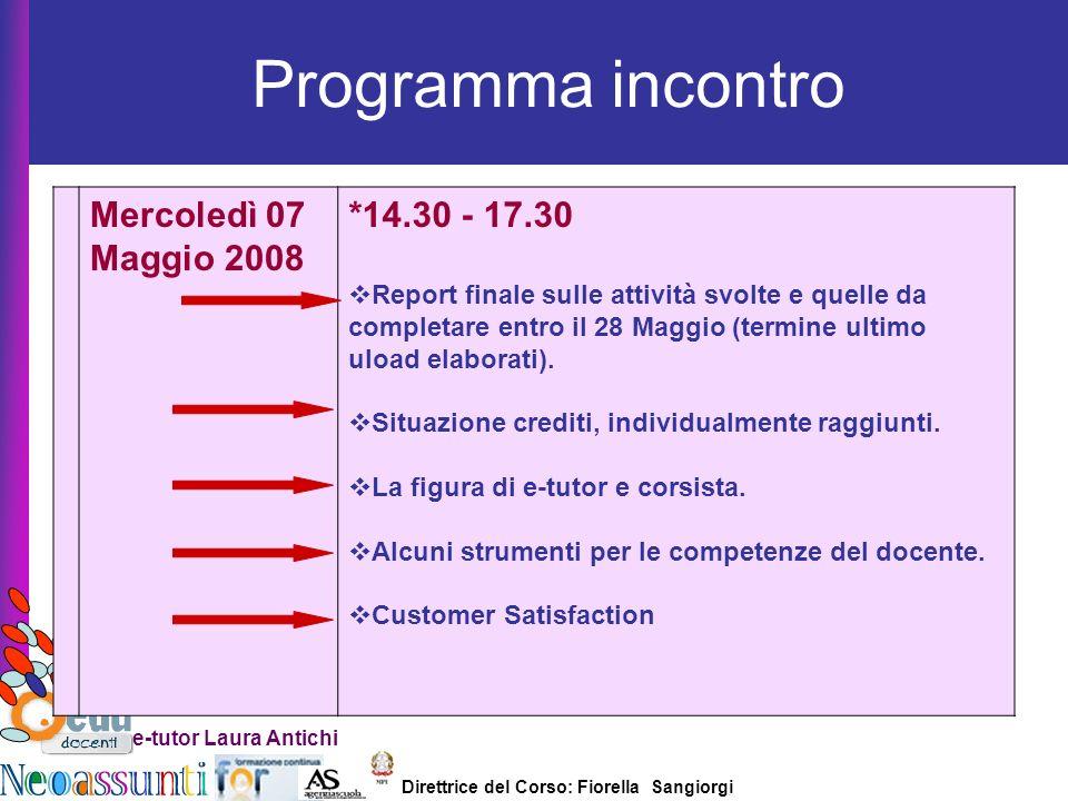 Direttrice del Corso: Fiorella Sangiorgi e-tutor Laura Antichi Programma incontro Mercoledì 07 Maggio 2008 *14.30 - 17.30 Report finale sulle attività svolte e quelle da completare entro il 28 Maggio (termine ultimo uload elaborati).