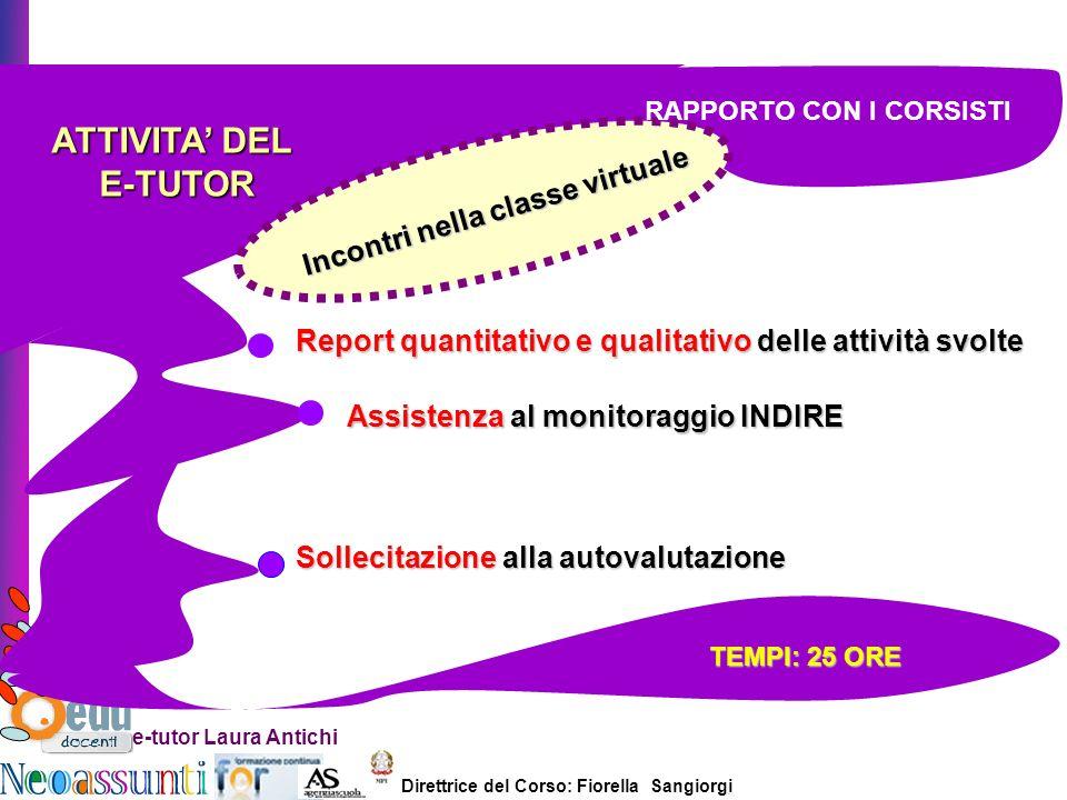 Direttrice del Corso: Fiorella Sangiorgi e-tutor Laura Antichi ATTIVITA DEL E-TUTOR E-TUTOR Incontri nella classe virtuale Report quantitativo e quali