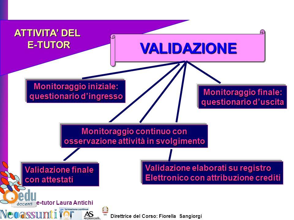 Direttrice del Corso: Fiorella Sangiorgi e-tutor Laura Antichi ATTIVITA DEL E-TUTOR E-TUTOR VALIDAZIONEVALIDAZIONE Monitoraggio iniziale: questionario