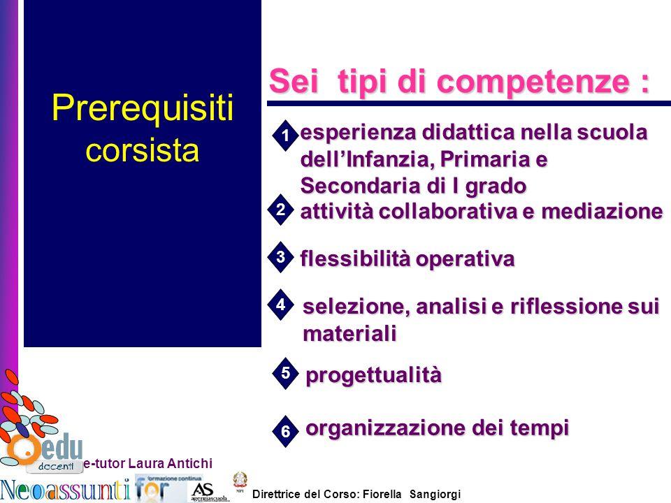 Direttrice del Corso: Fiorella Sangiorgi e-tutor Laura Antichi Prerequisiti corsista Sei tipi di competenze : attività collaborativa e mediazione fles