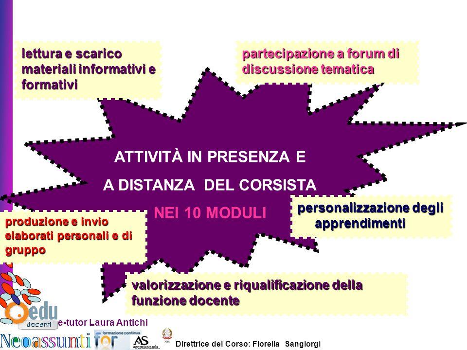 Direttrice del Corso: Fiorella Sangiorgi e-tutor Laura Antichi ATTIVITÀ IN PRESENZA E A DISTANZA DEL CORSISTA NEI 10 MODULI lettura e scarico material