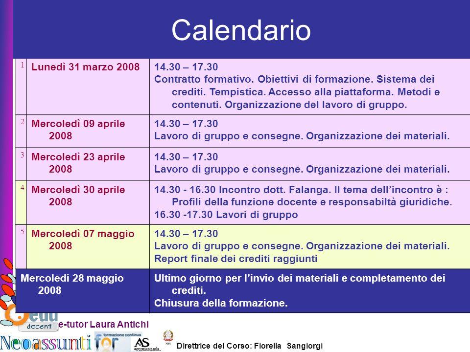 Direttrice del Corso: Fiorella Sangiorgi e-tutor Laura Antichi 1 Lunedì 31 marzo 200814.30 – 17.30 Contratto formativo. Obiettivi di formazione. Siste