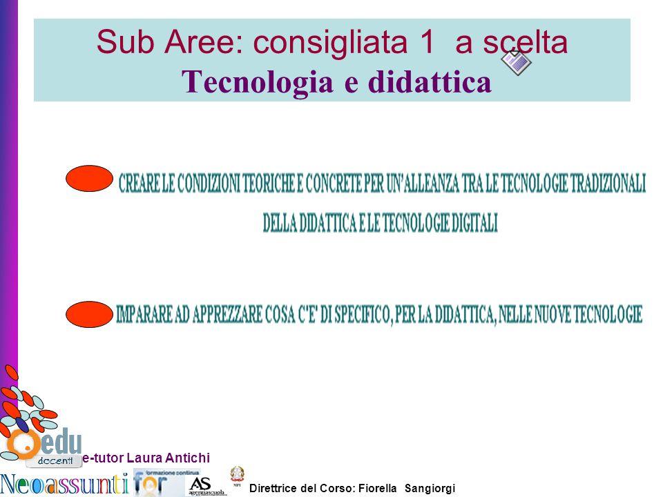 Direttrice del Corso: Fiorella Sangiorgi e-tutor Laura Antichi Sub Aree: consigliata 1 a scelta Tecnologia e didattica