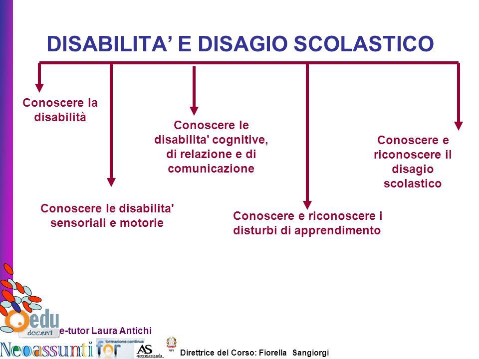 Direttrice del Corso: Fiorella Sangiorgi e-tutor Laura Antichi DISABILITA E DISAGIO SCOLASTICO Conoscere la disabilità Conoscere le disabilita' sensor