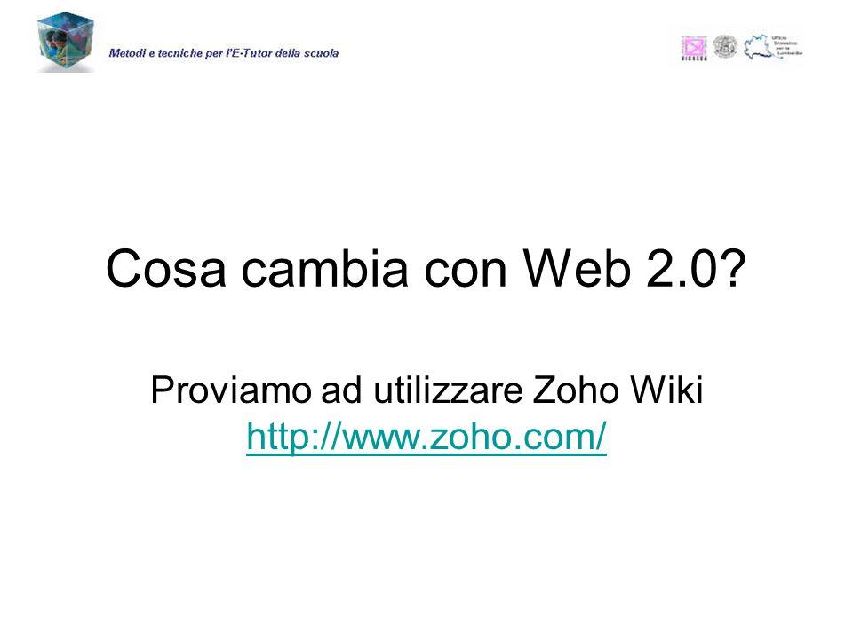 Cosa cambia con Web 2.0 Proviamo ad utilizzare Zoho Wiki http://www.zoho.com/ http://www.zoho.com/