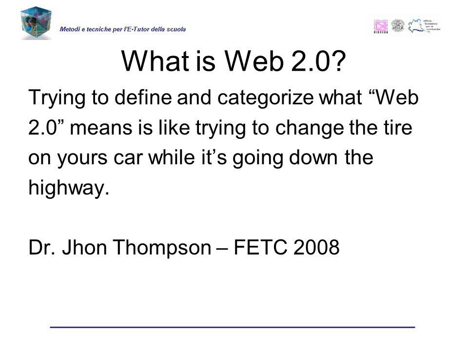 Tentiamo lo stesso di definirlo Web 2.0 si riferisce alle tecnologie che permettono ai dati di diventare indipendenti dalla persona che li produce o dal sito in cui vengono creati.
