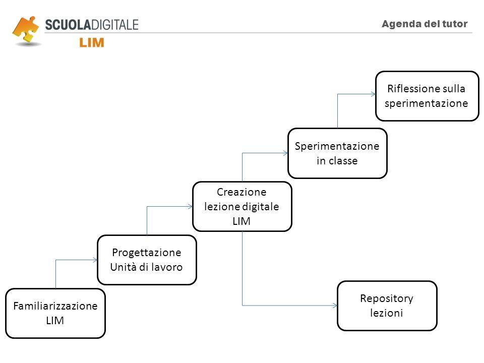 Agenda del tutor Familiarizzazione LIM Progettazione Unità di lavoro Creazione lezione digitale LIM Repository lezioni Sperimentazione in classe Rifle