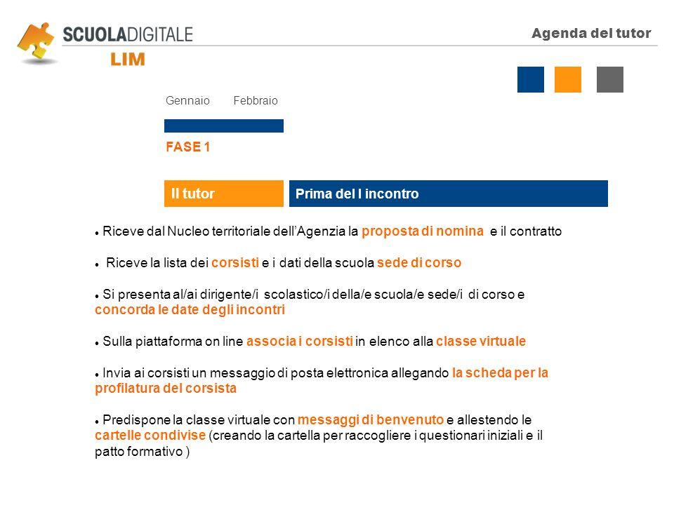 Agenda del tutor Gennaio Febbraio FASE 1 Prima del I incontro Il tutor Riceve dal Nucleo territoriale dellAgenzia la proposta di nomina e il contratto