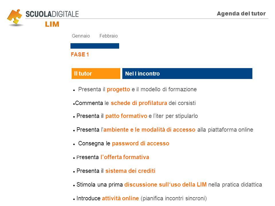 Agenda del tutor FASE 1 Nel I incontro Il tutor Presenta il progetto e il modello di formazione Commenta le schede di profilatura dei corsisti Present