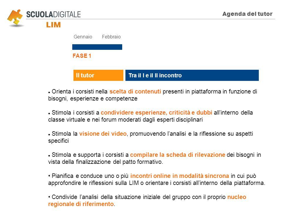 Agenda del tutor FASE 1 Tra il I e il II incontro Il tutor Orienta i corsisti nella scelta di contenuti presenti in piattaforma in funzione di bisogni
