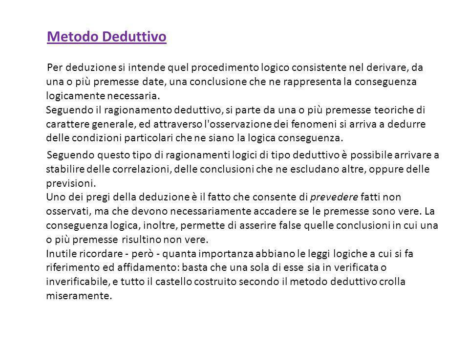 Metodo Deduttivo Per deduzione si intende quel procedimento logico consistente nel derivare, da una o più premesse date, una conclusione che ne rappre