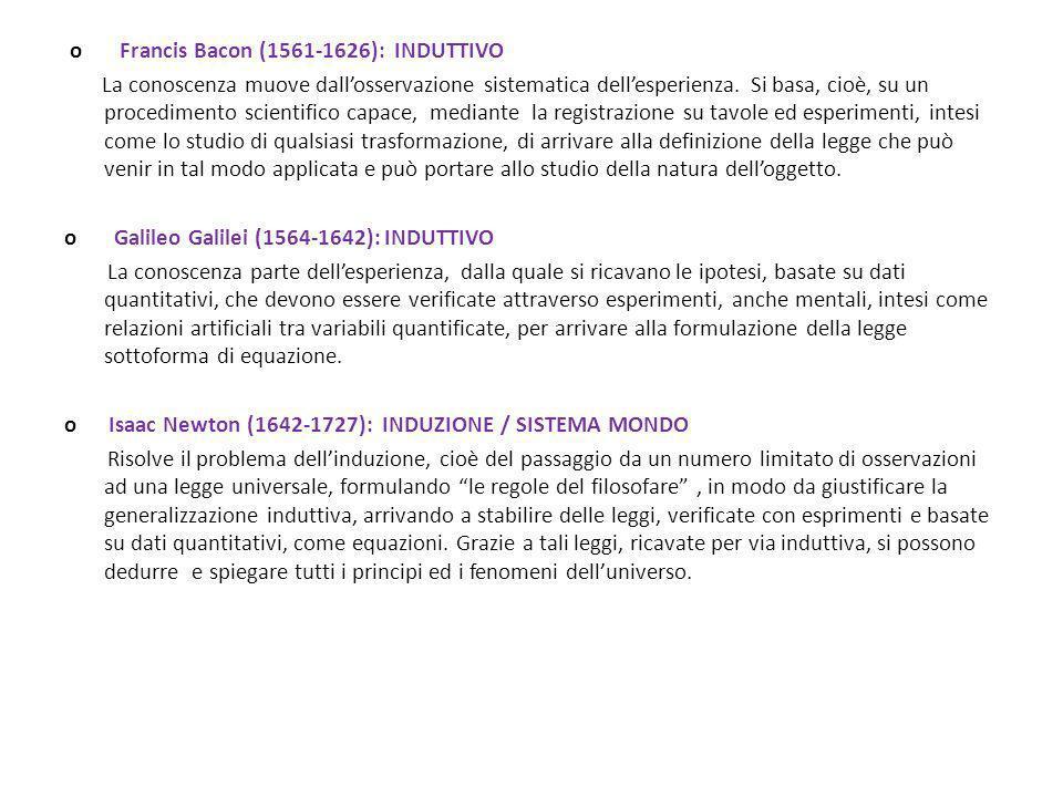 o Francis Bacon (1561-1626): INDUTTIVO La conoscenza muove dallosservazione sistematica dellesperienza. Si basa, cioè, su un procedimento scientifico