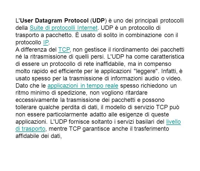 L'User Datagram Protocol (UDP) è uno dei principali protocolli della Suite di protocolli Internet. UDP è un protocollo di trasporto a pacchetto. È usa