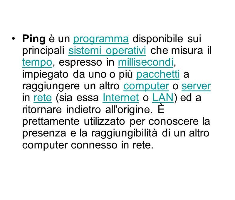 Ping è un programma disponibile sui principali sistemi operativi che misura il tempo, espresso in millisecondi, impiegato da uno o più pacchetti a rag