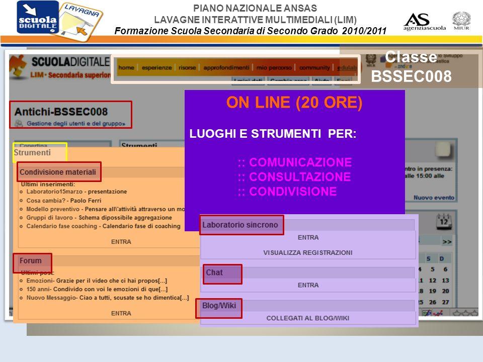 PIANO NAZIONALE ANSAS LAVAGNE INTERATTIVE MULTIMEDIALI (LIM) Formazione Scuola Secondaria di Secondo Grado 2010/2011 RIASSUMENDO: GLI INCONTRI IN CLASSE VIRTUALE - PROGRAMMA FORUM CONDIVISIONE/ CONSULTAZIONE MATERIALI CHAT LABORATORIO SINCRONO (Breeze) BLOG/WIKI LUOGHI E STRUMENTI PER IL PIANO ATTIVITA ON-LINE