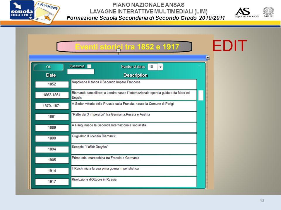 PIANO NAZIONALE ANSAS LAVAGNE INTERATTIVE MULTIMEDIALI (LIM) Formazione Scuola Secondaria di Secondo Grado 2010/2011 43 EDIT
