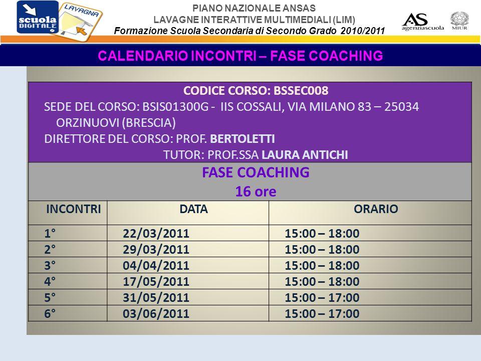 PIANO NAZIONALE ANSAS LAVAGNE INTERATTIVE MULTIMEDIALI (LIM) Formazione Scuola Secondaria di Secondo Grado 2010/2011 PROGRAMMA DEL PRIMO INCONTRO – FASE COACHING A.LA SECONDA FASE DELLA FORMAZIONE (Coaching), MODALITA, TEMPI (in presenza e on-line) B.CHE COSE IL COACHING.