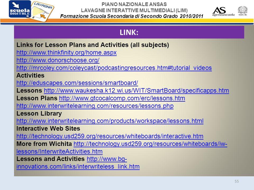 PIANO NAZIONALE ANSAS LAVAGNE INTERATTIVE MULTIMEDIALI (LIM) Formazione Scuola Secondaria di Secondo Grado 2010/2011 55 LINK: Links for Lesson Plans a