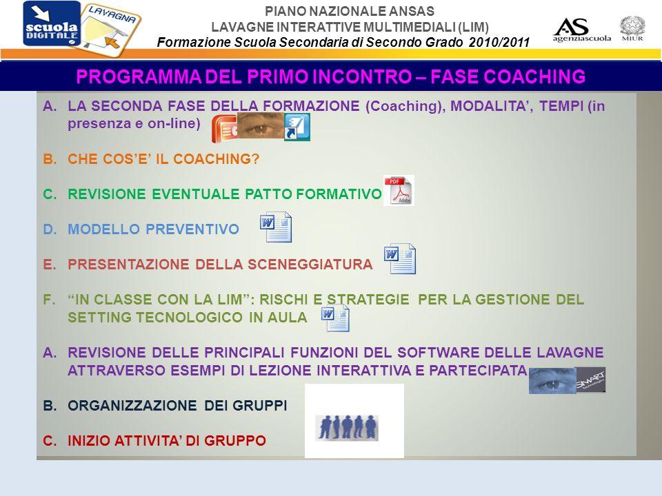 PIANO NAZIONALE ANSAS LAVAGNE INTERATTIVE MULTIMEDIALI (LIM) Formazione Scuola Secondaria di Secondo Grado 2010/2011 GLI INCONTRI SUCCESSIVI IN PRESENZA PROGRAMMA PARTE TEORICA E DI SUPPORTO Argomenti : 1.EBOOK – LIBRI MISTI E LIM 2.SOFTWARE ED APPLICAZIONI DEL WEB 2.0 E LIM 3.ANALISI DI CASO 4.STRUMENTI DI VALUTAZIONE E DI MONITORAGGIO 5.WEBQUEST 6.PROPOSTA E ANALISI LINKOGRAFIA 7.REVISIONE PRINCIPALI FUNZIONI DEL SOFTWARE DELLA LAVAGNA IN DOTAZIONE ALLA SEDE DEL CORSO ATTRAVERSO UNA LEZIONE INTERATTIVA E PARTECIPATA PRESENTATA DAL TUTOR 8.GOOGLE MAPS 9.GOOGLE DOCUMENTS 10.SPAZI ON LINE PER IL LAVORO DELLE CLASSI E COME REPOSITORY