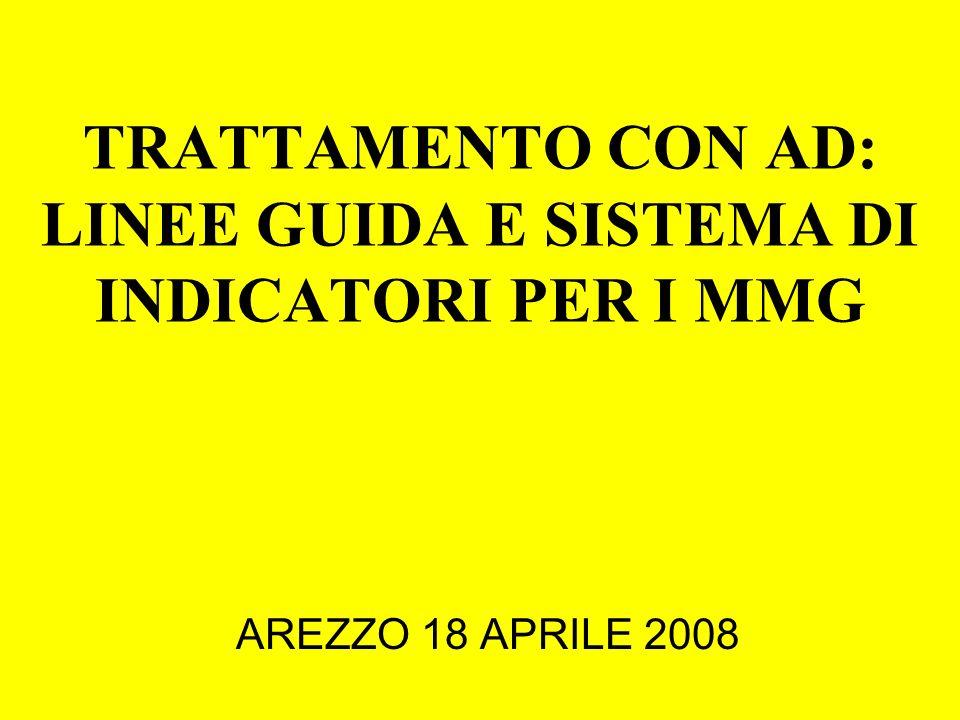 TRATTAMENTO CON AD: LINEE GUIDA E SISTEMA DI INDICATORI PER I MMG AREZZO 18 APRILE 2008