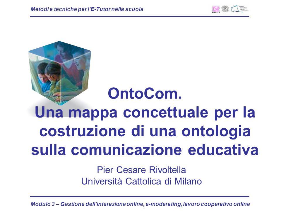 Metodi e tecniche per lE-Tutor nella scuola Modulo 3 – Gestione dellinterazione online, e-moderating, lavoro cooperativo online OntoCom. Una mappa con