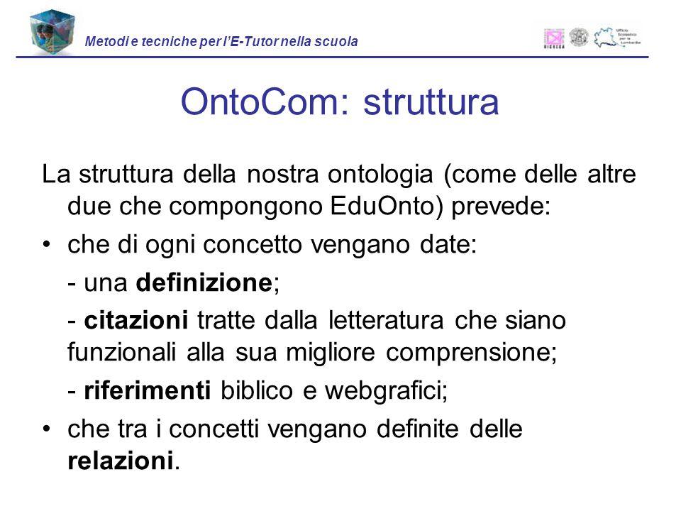 La struttura della nostra ontologia (come delle altre due che compongono EduOnto) prevede: che di ogni concetto vengano date: - una definizione; - cit