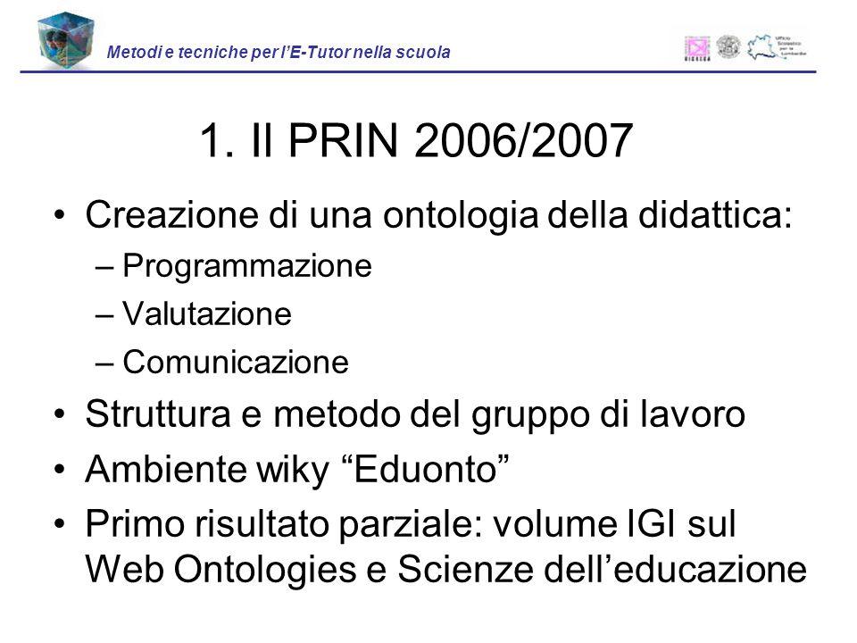 Creazione di una ontologia della didattica: –Programmazione –Valutazione –Comunicazione Struttura e metodo del gruppo di lavoro Ambiente wiky Eduonto