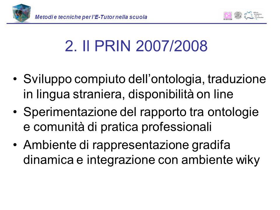 Sviluppo compiuto dellontologia, traduzione in lingua straniera, disponibilità on line Sperimentazione del rapporto tra ontologie e comunità di pratic