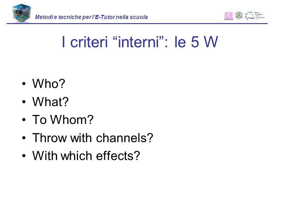 Who? What? To Whom? Throw with channels? With which effects? I criteri interni: le 5 W Metodi e tecniche per lE-Tutor nella scuola