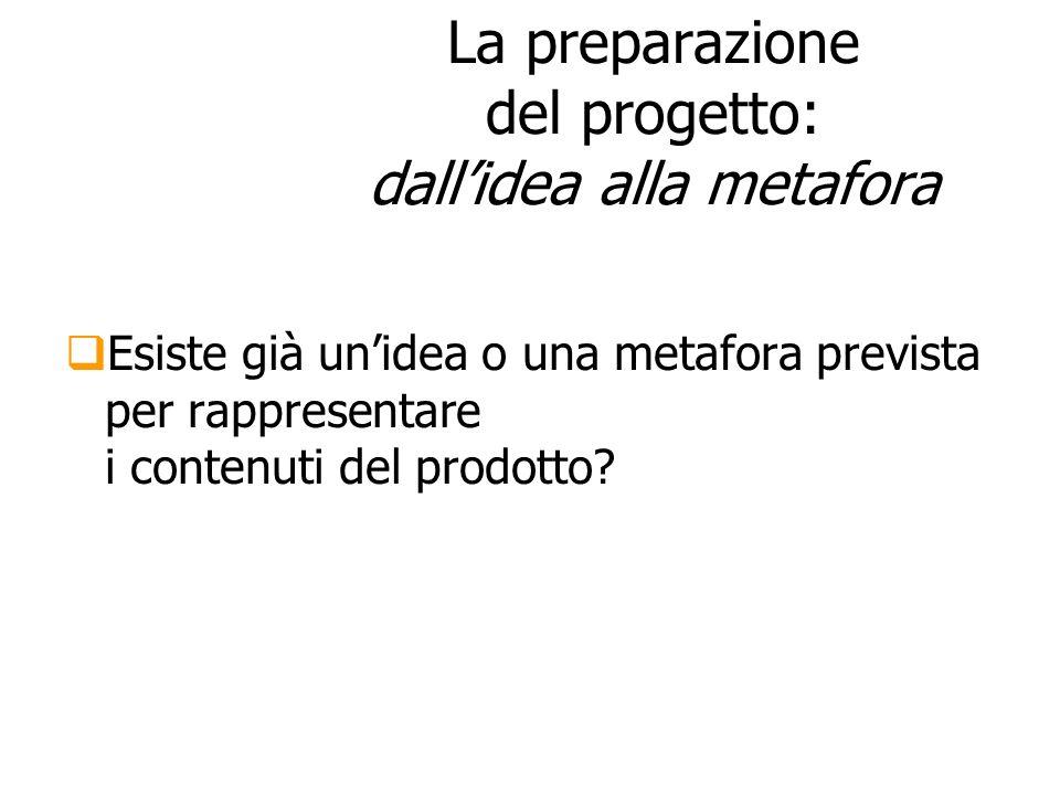 La preparazione del progetto: dallidea alla metafora Esiste già unidea o una metafora prevista per rappresentare i contenuti del prodotto?