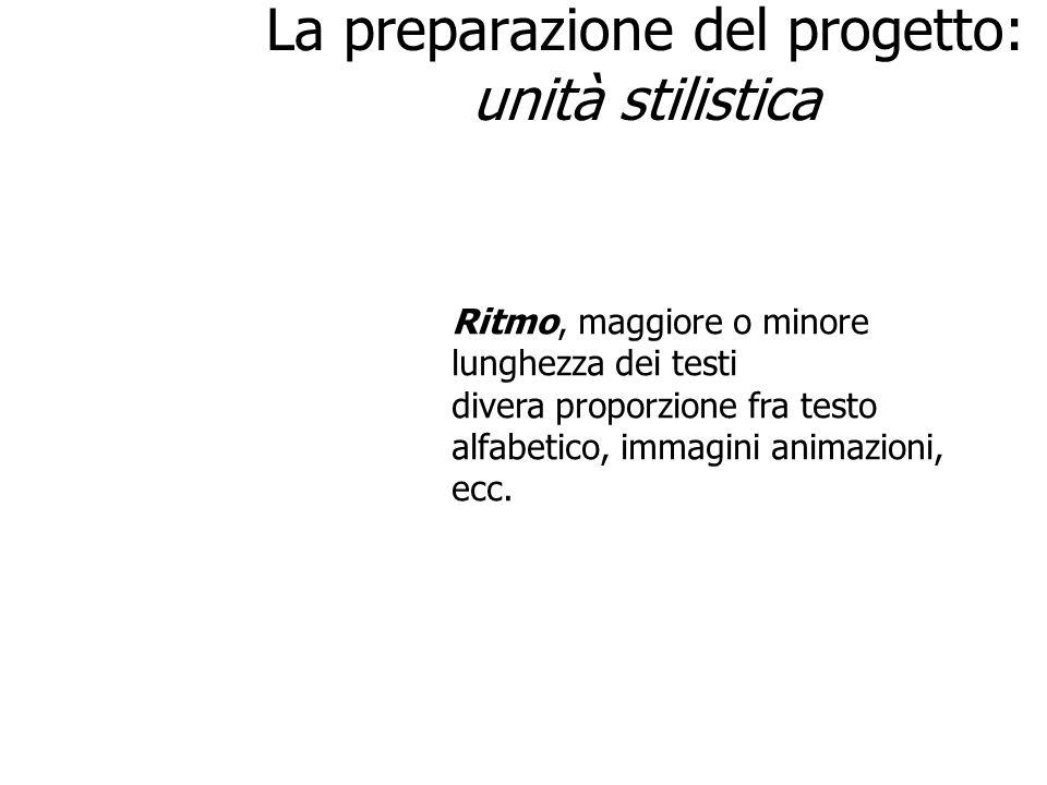 La preparazione del progetto: unità stilistica stile Layout (rigoroso se lo stile è serio, casuale se è informale) Ritmo, maggiore o minore lunghezza