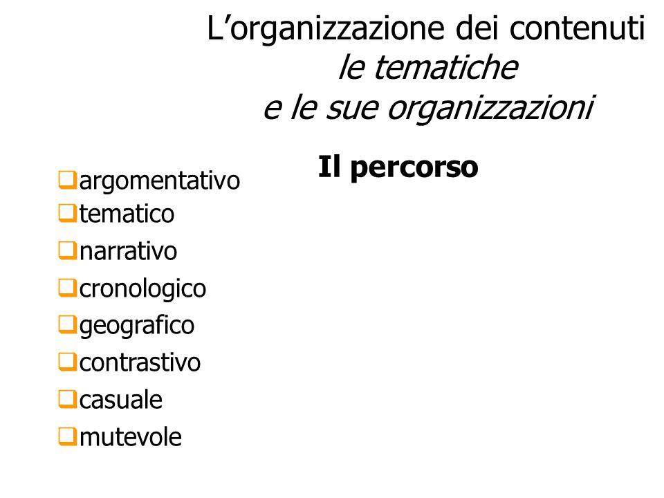 Lorganizzazione dei contenuti le tematiche e le sue organizzazioni argomentativo tematico narrativo cronologico geografico contrastivo casuale mutevol