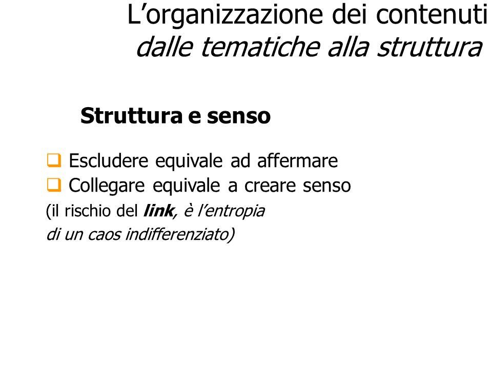 Lorganizzazione dei contenuti dalle tematiche alla struttura Escludere equivale ad affermare Collegare equivale a creare senso (il rischio del link, è