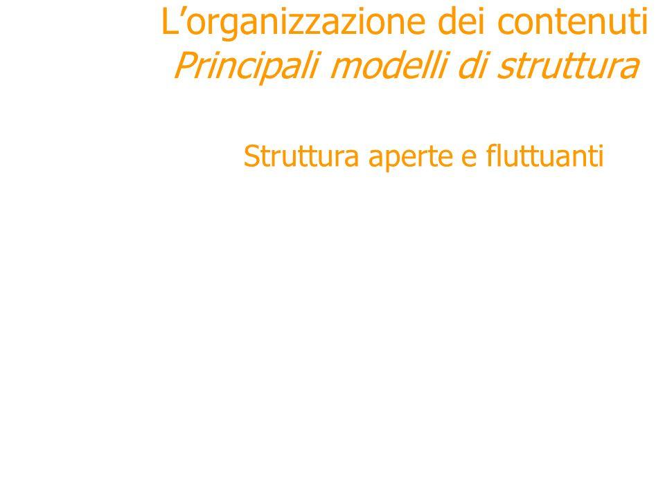 Struttura aperte e fluttuanti Lorganizzazione dei contenuti Principali modelli di struttura Esistono tipologie di strutture variabili, indeterminate c