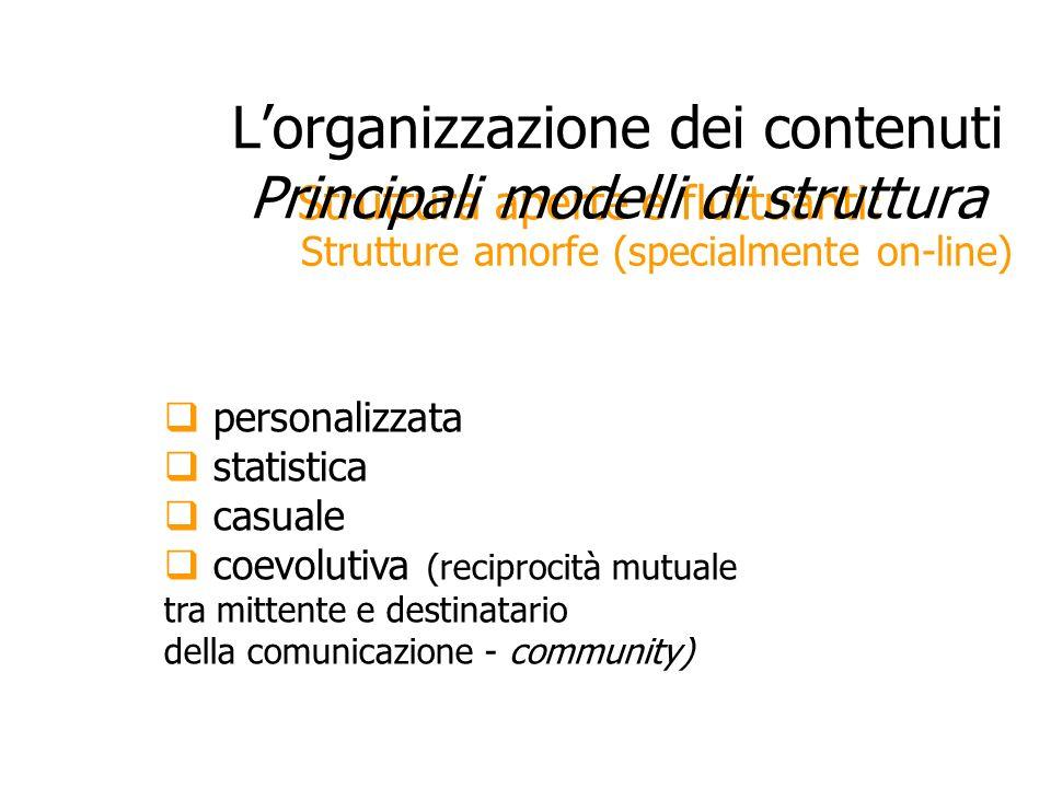 Strutture amorfe (specialmente on-line) Struttura aperte e fluttuanti: Lorganizzazione dei contenuti Principali modelli di struttura personalizzata st