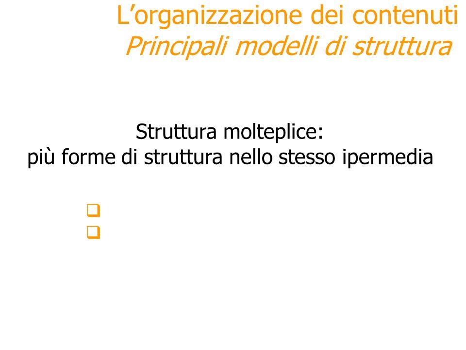 Struttura molteplice: più forme di struttura nello stesso ipermedia Lorganizzazione dei contenuti Principali modelli di struttura rischio = caos vanta