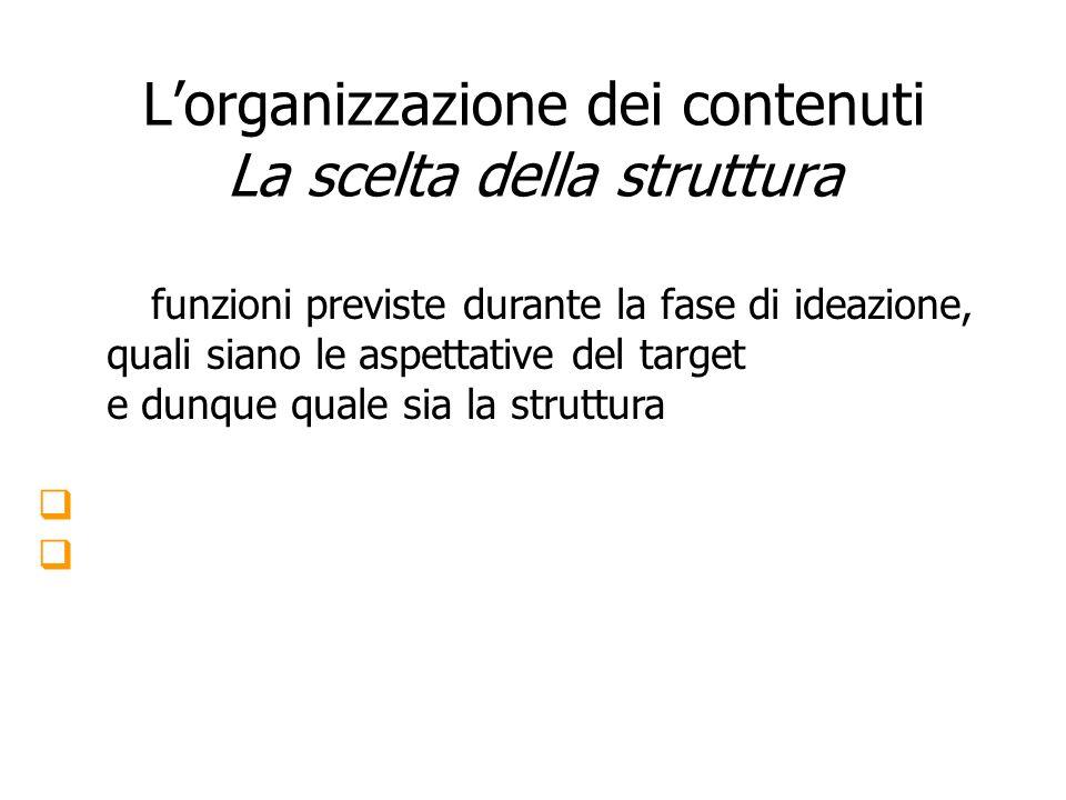 Lorganizzazione dei contenuti La scelta della struttura es.: se lutente conosce già i contenuti database es.: se lutente non ha chiaro cosa sta cercan