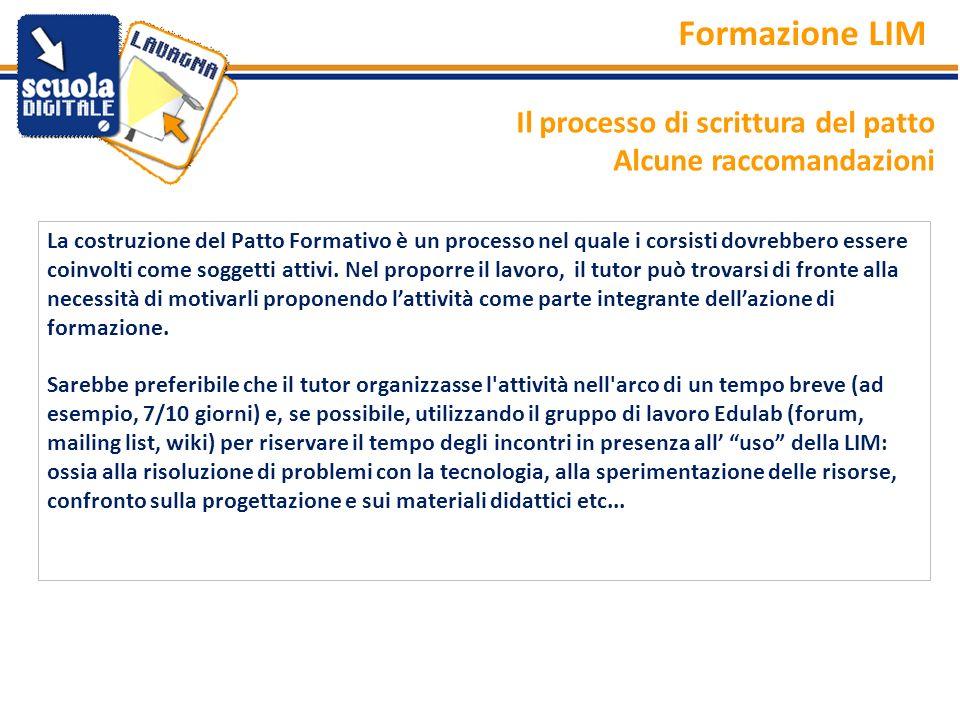 La costruzione del Patto Formativo è un processo nel quale i corsisti dovrebbero essere coinvolti come soggetti attivi. Nel proporre il lavoro, il tut