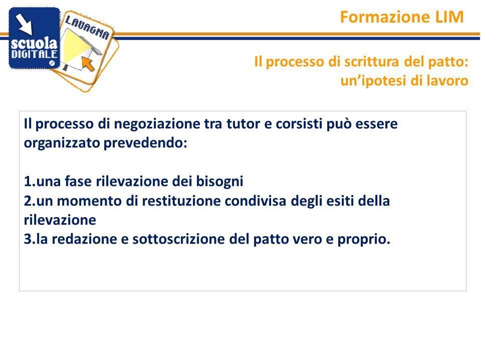 Il processo di negoziazione tra tutor e corsisti può essere organizzato prevedendo: 1.una fase rilevazione dei bisogni 2.un momento di restituzione co