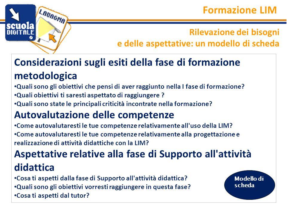 Rilevazione dei bisogni e delle aspettative: un modello di scheda Formazione LIM Considerazioni sugli esiti della fase di formazione metodologica Qual