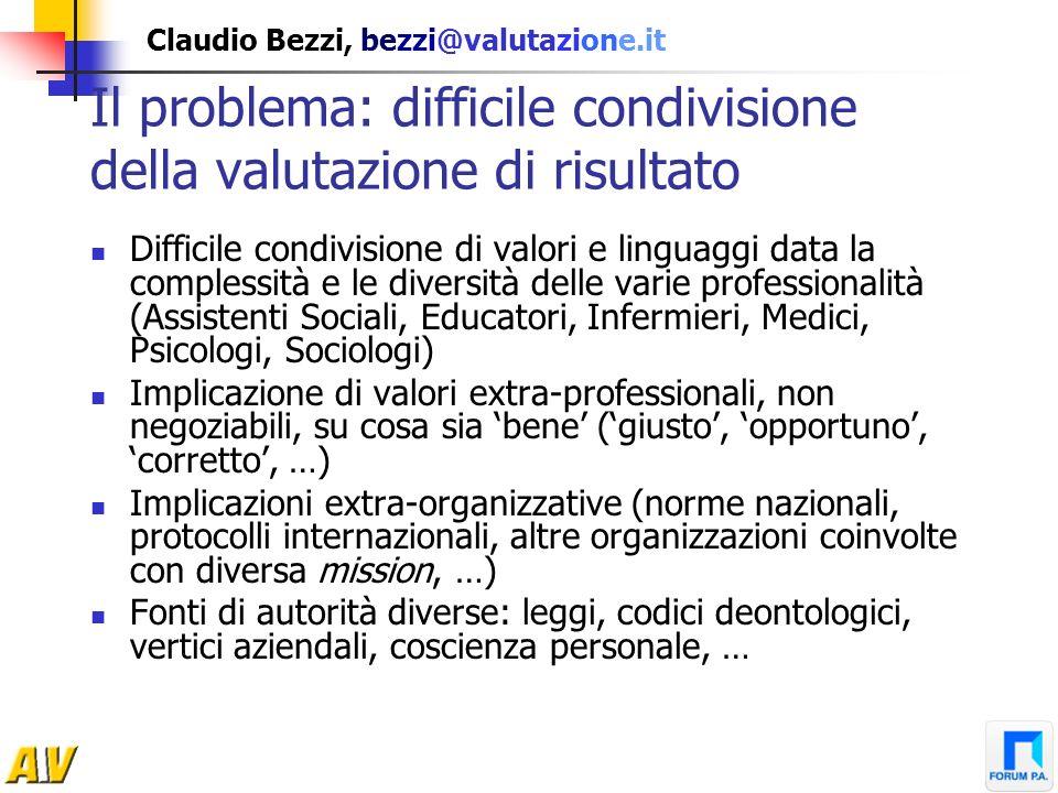Claudio Bezzi, bezzi@valutazione.it Il problema: difficile condivisione della valutazione di risultato Difficile condivisione di valori e linguaggi da