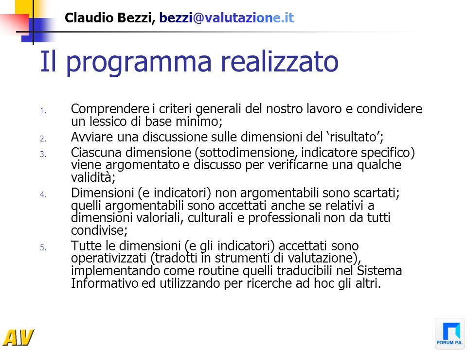 Claudio Bezzi, bezzi@valutazione.it Il programma realizzato 1. Comprendere i criteri generali del nostro lavoro e condividere un lessico di base minim