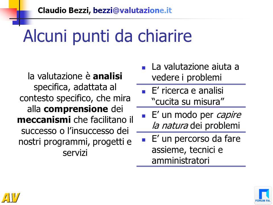 Claudio Bezzi, bezzi@valutazione.it Alcuni punti da chiarire La valutazione NON dà certezze NON è un semplice insieme di procedure Non è una scorciato