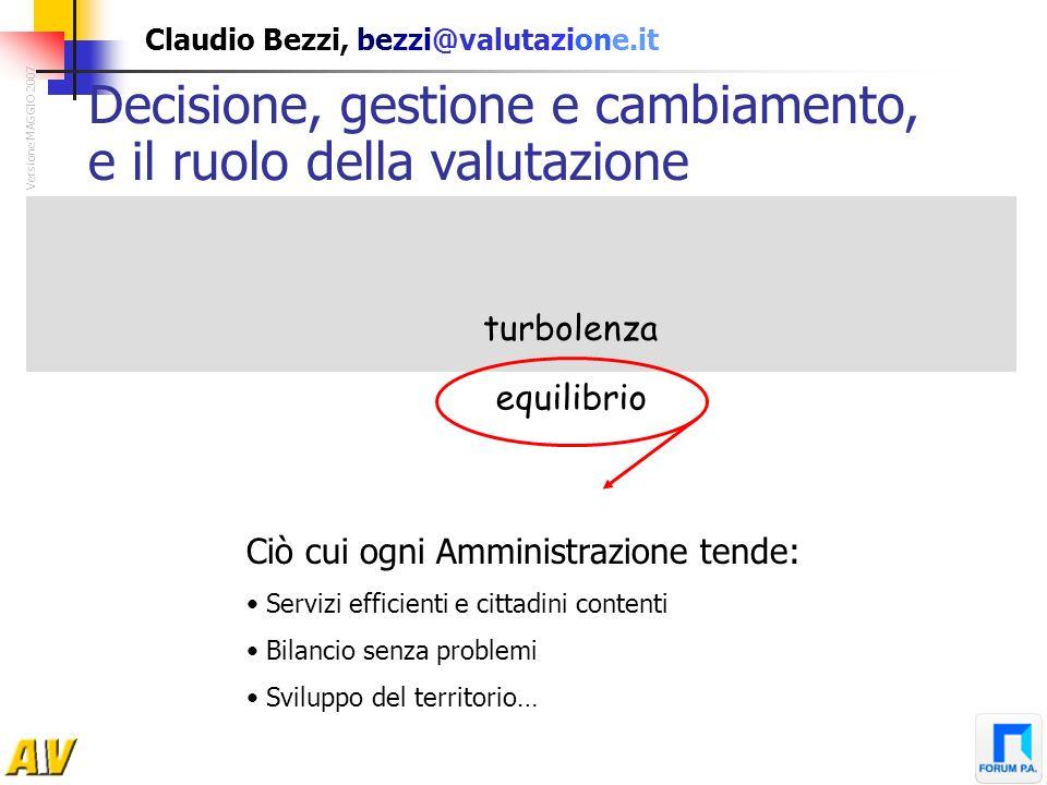 Claudio Bezzi, bezzi@valutazione.it turbolenza equilibrio Decisione, gestione e cambiamento, e il ruolo della valutazione Versione MAGGIO 2007 Ciò cui