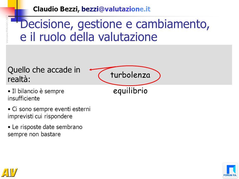 Claudio Bezzi, bezzi@valutazione.it turbolenza equilibrio Decisione, gestione e cambiamento, e il ruolo della valutazione Versione MAGGIO 2007 Quello