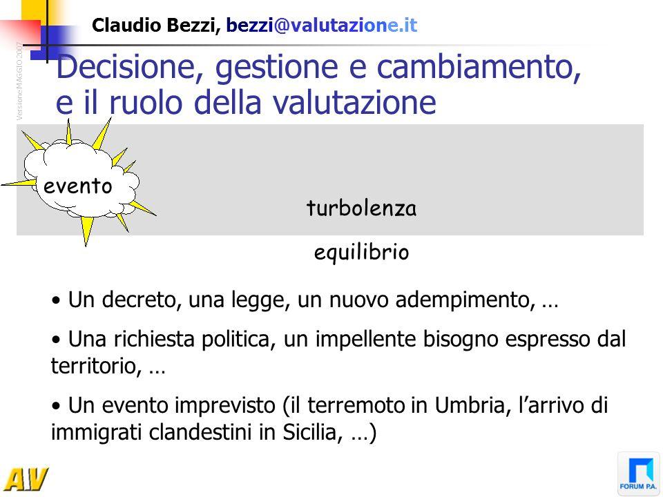 Claudio Bezzi, bezzi@valutazione.it evento turbolenza equilibrio Decisione, gestione e cambiamento, e il ruolo della valutazione Versione MAGGIO 2007